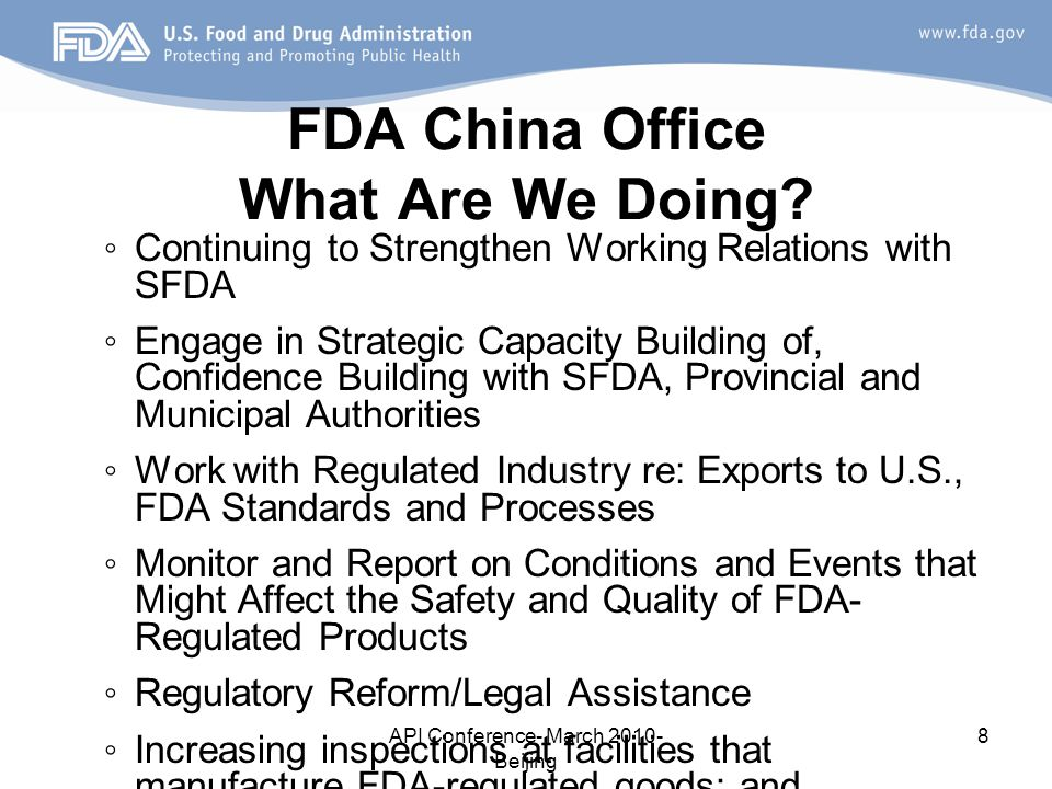 FDA China Office What Are We Doing