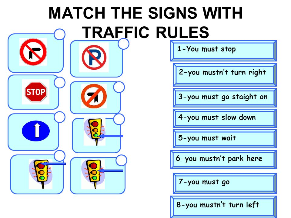 MATCH THE SIGNS WITH TRAFFIC RULES