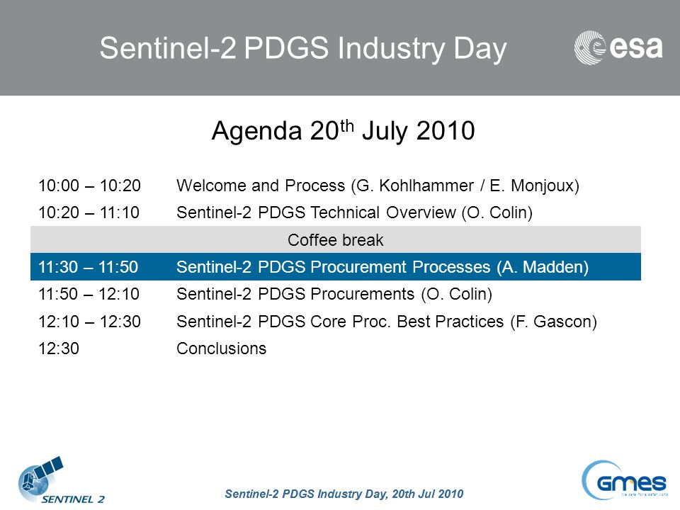 Sentinel-2 PDGS Industry Day