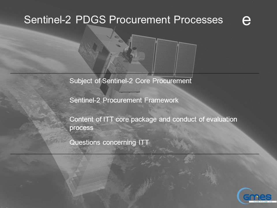 Sentinel-2 PDGS Procurement Processes