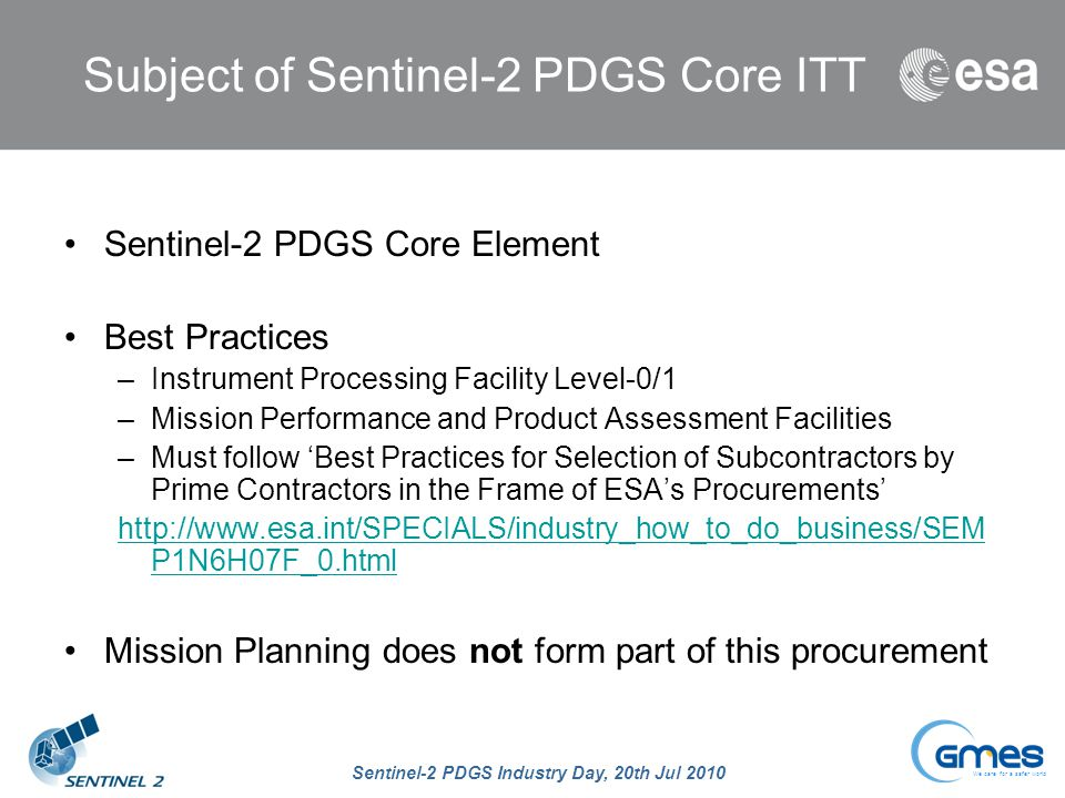 Subject of Sentinel-2 PDGS Core ITT