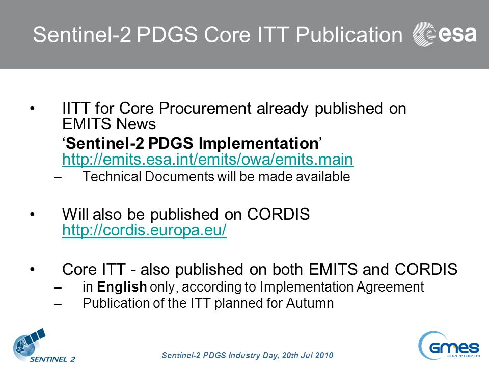 Sentinel-2 PDGS Core ITT Publication