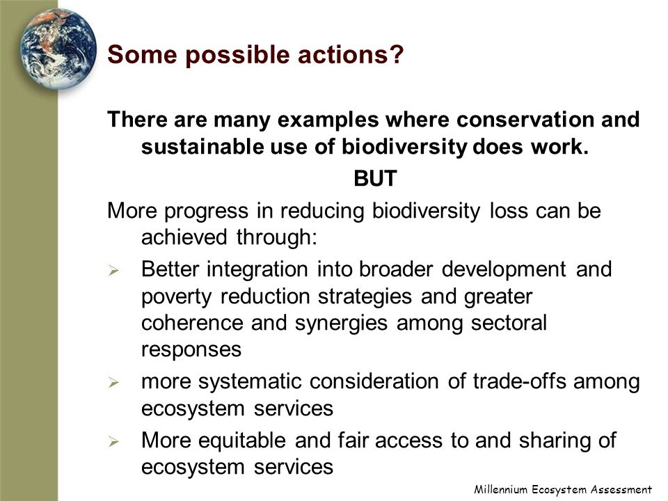 Some possible actions There are many examples where conservation and sustainable use of biodiversity does work.