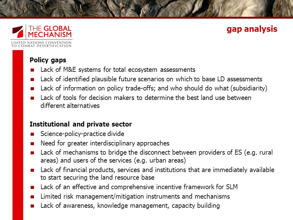 gap analysis Policy gaps