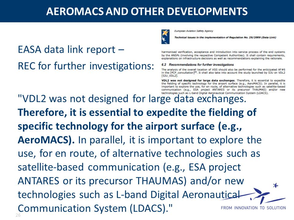 AEROMACS AND OTHER DEVELOPMENTS