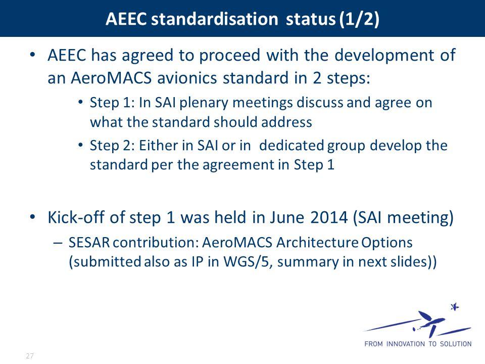 AEEC standardisation status (1/2)