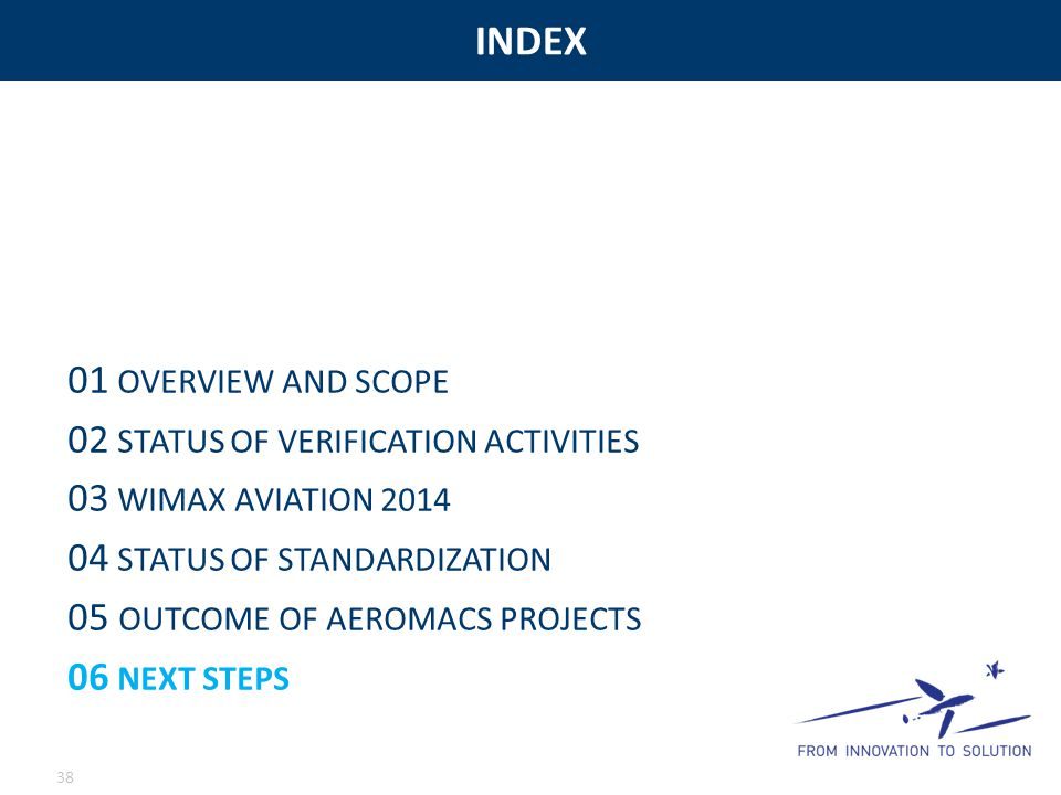 INDEX 01 OVERVIEW AND SCOPE 02 STATUS OF VERIFICATION ACTIVITIES