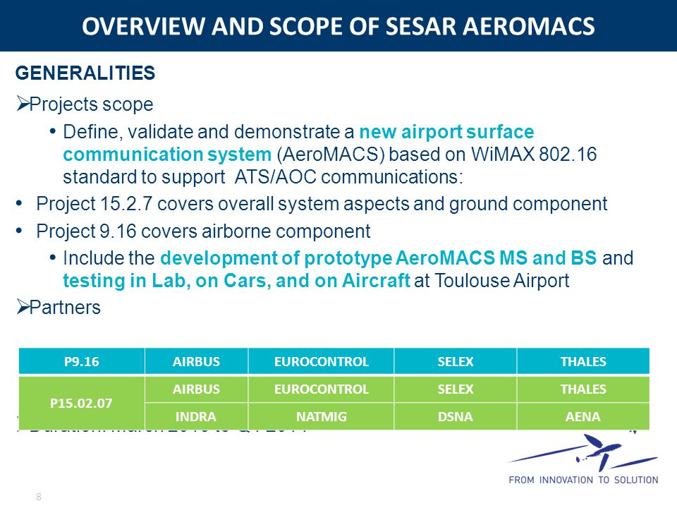 OVERVIEW AND SCOPE OF SESAR AEROMACS
