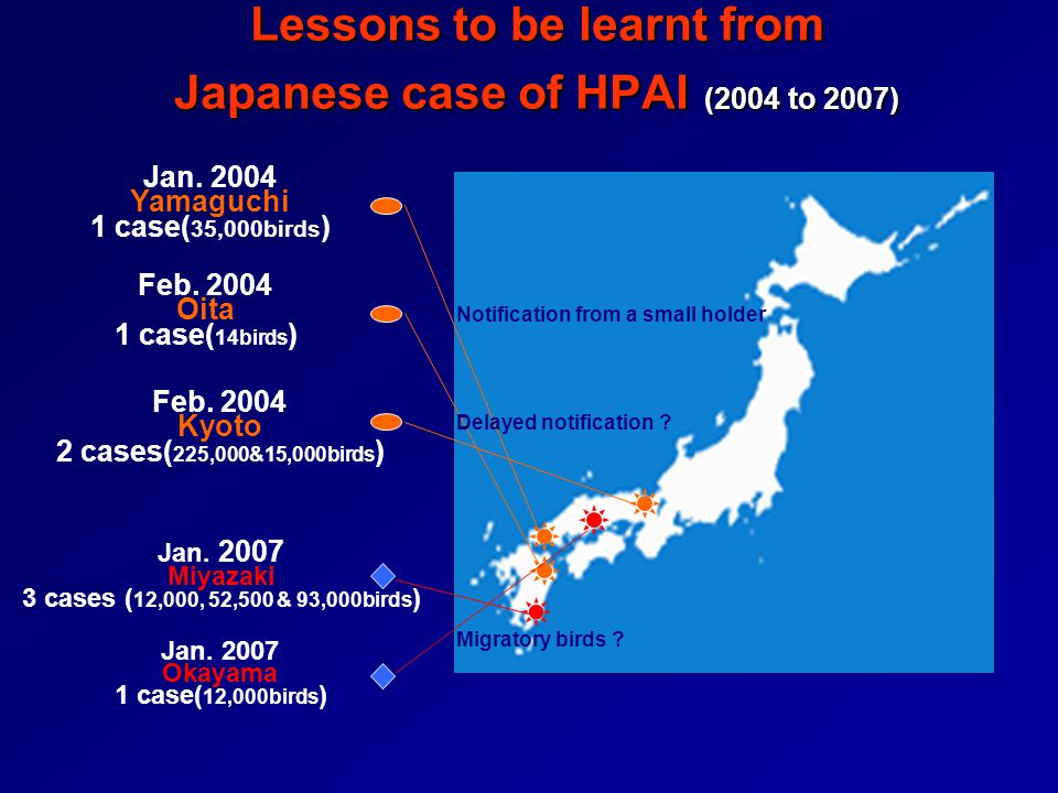 Lessons to be learnt from Japanese case of HPAI (2004 to 2007)