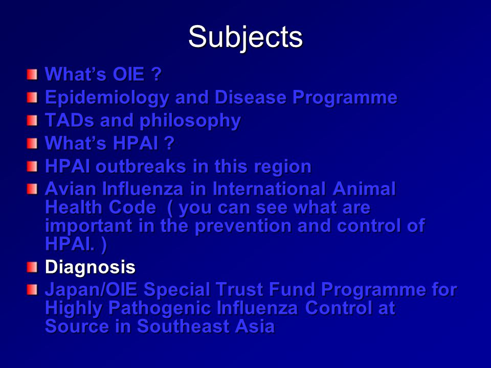 Subjects What's OIE Epidemiology and Disease Programme