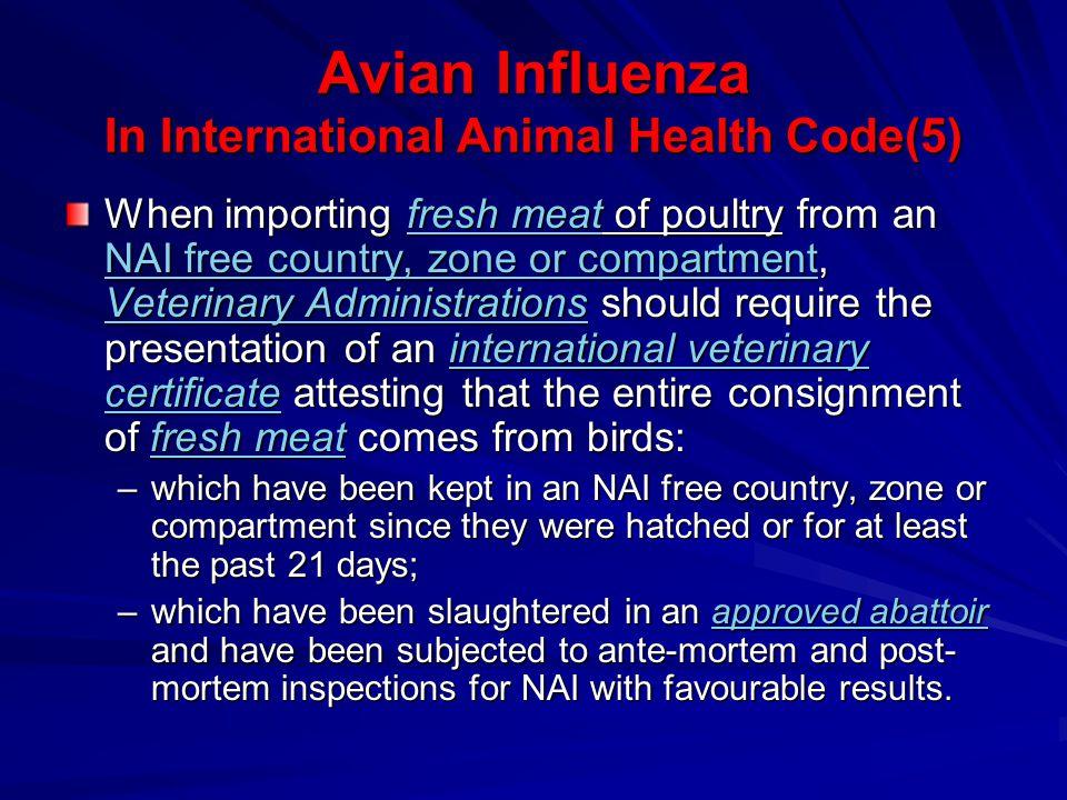 Avian Influenza In International Animal Health Code(5)