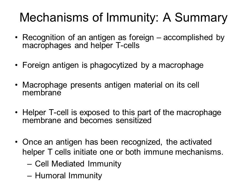 Mechanisms of Immunity: A Summary