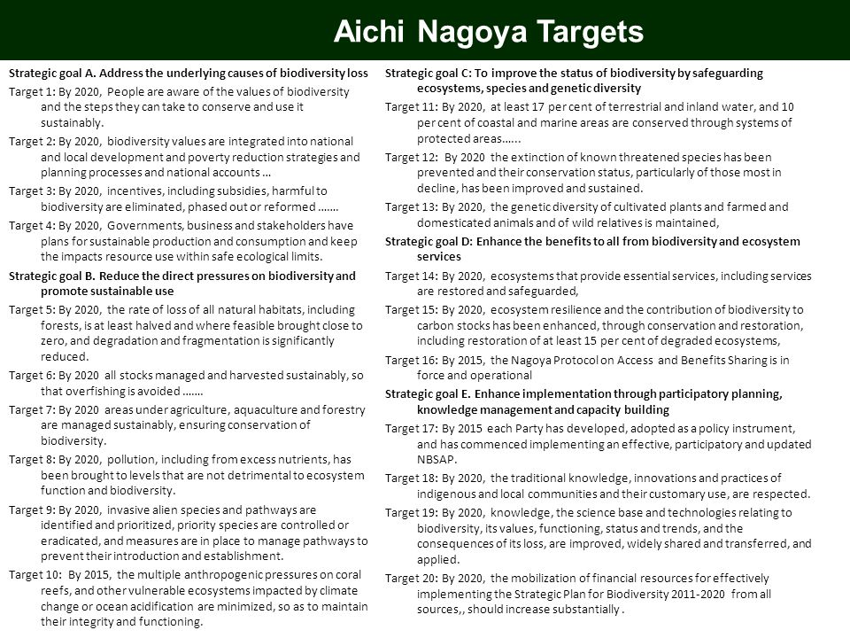 Aichi Nagoya Targets Strategic goal A. Address the underlying causes of biodiversity loss.