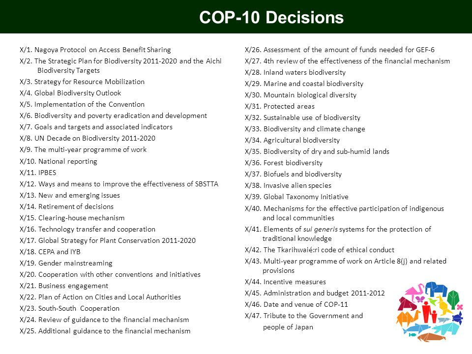 COP-10 Decisions X/1. Nagoya Protocol on Access Benefit Sharing