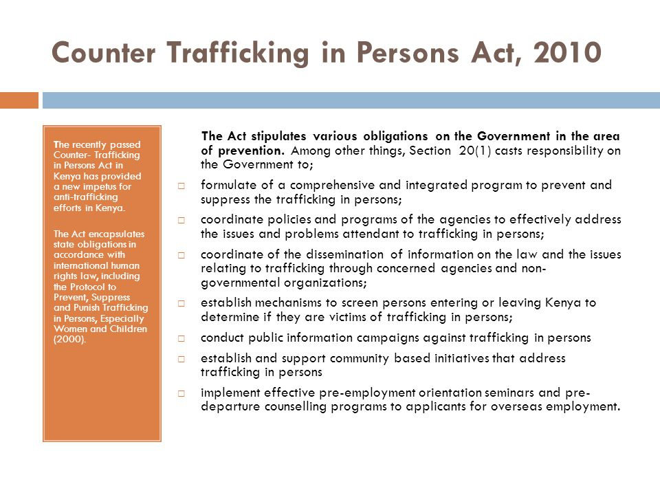 Counter Trafficking in Persons Act, 2010
