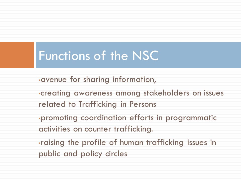 Functions of the NSC avenue for sharing information,