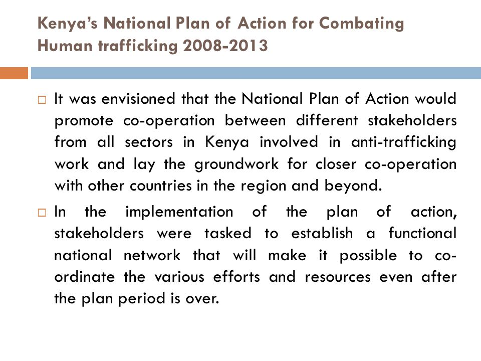 Kenya's National Plan of Action for Combating Human trafficking 2008-2013