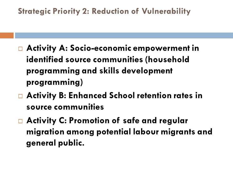 Strategic Priority 2: Reduction of Vulnerability
