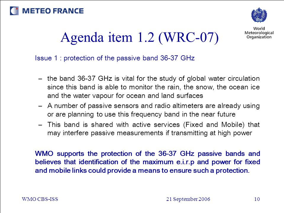 Agenda item 1.2 (WRC-07) Issue 1 : protection of the passive band GHz.