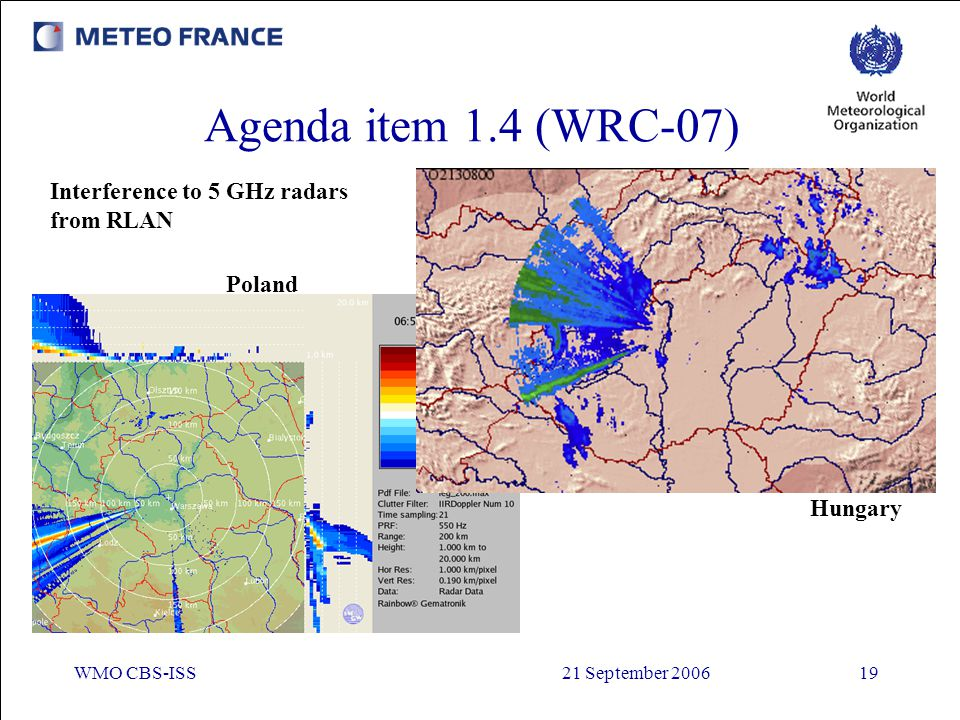 Agenda item 1.4 (WRC-07) Interference to 5 GHz radars from RLAN Poland