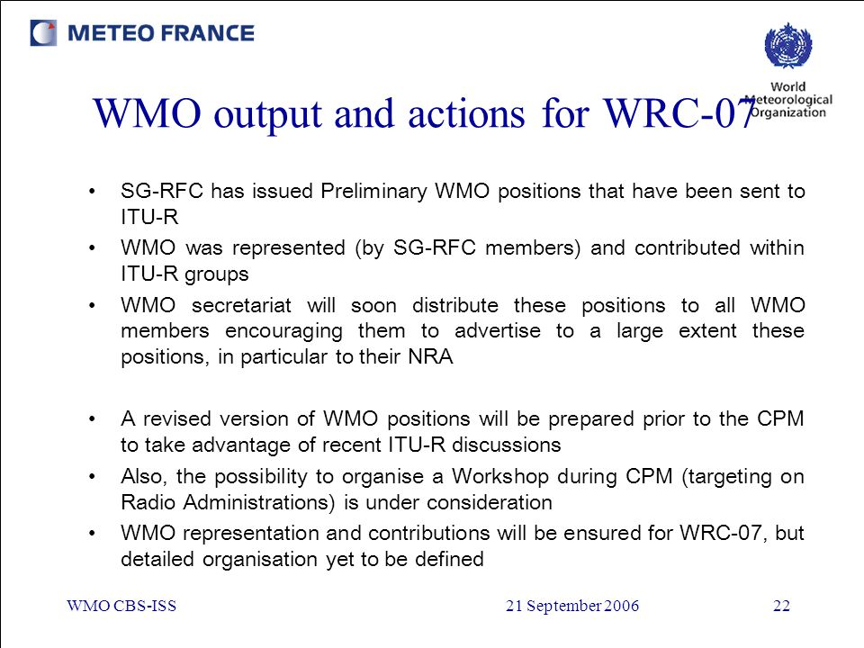 WMO output and actions for WRC-07
