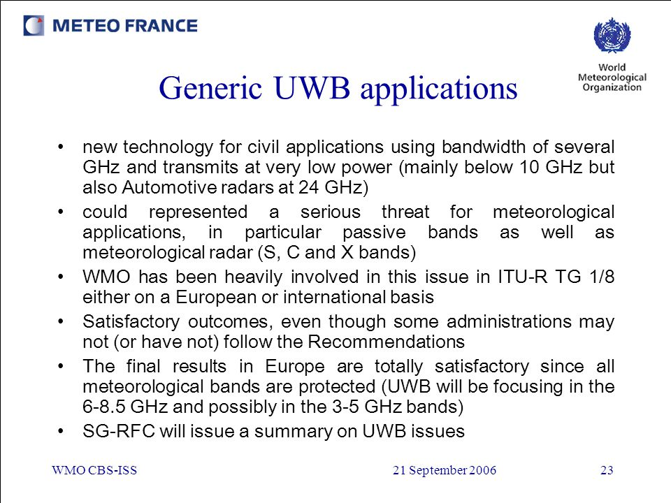 Generic UWB applications