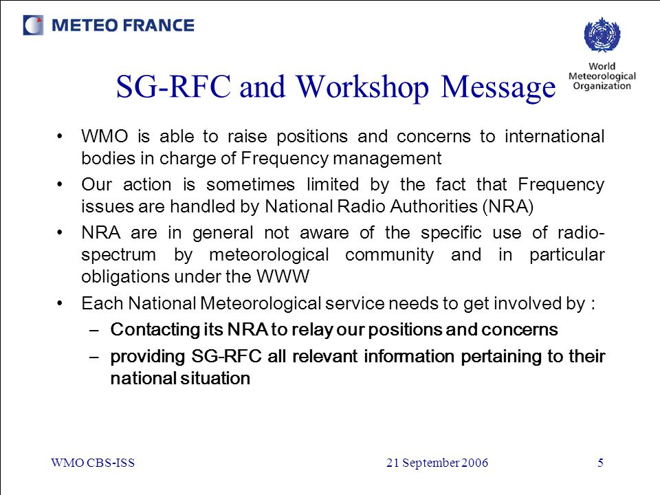 SG-RFC and Workshop Message