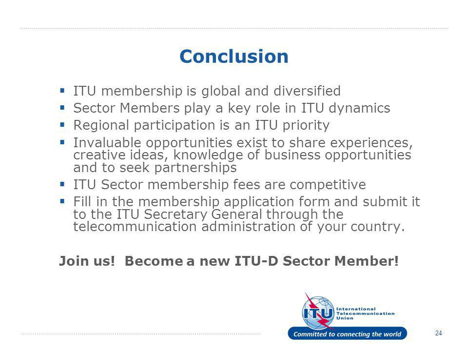 Conclusion ITU membership is global and diversified