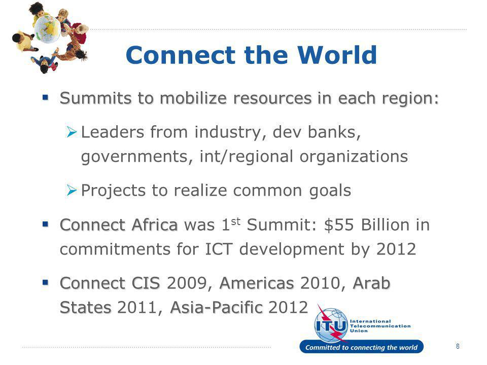 Connect the World Summits to mobilize resources in each region: