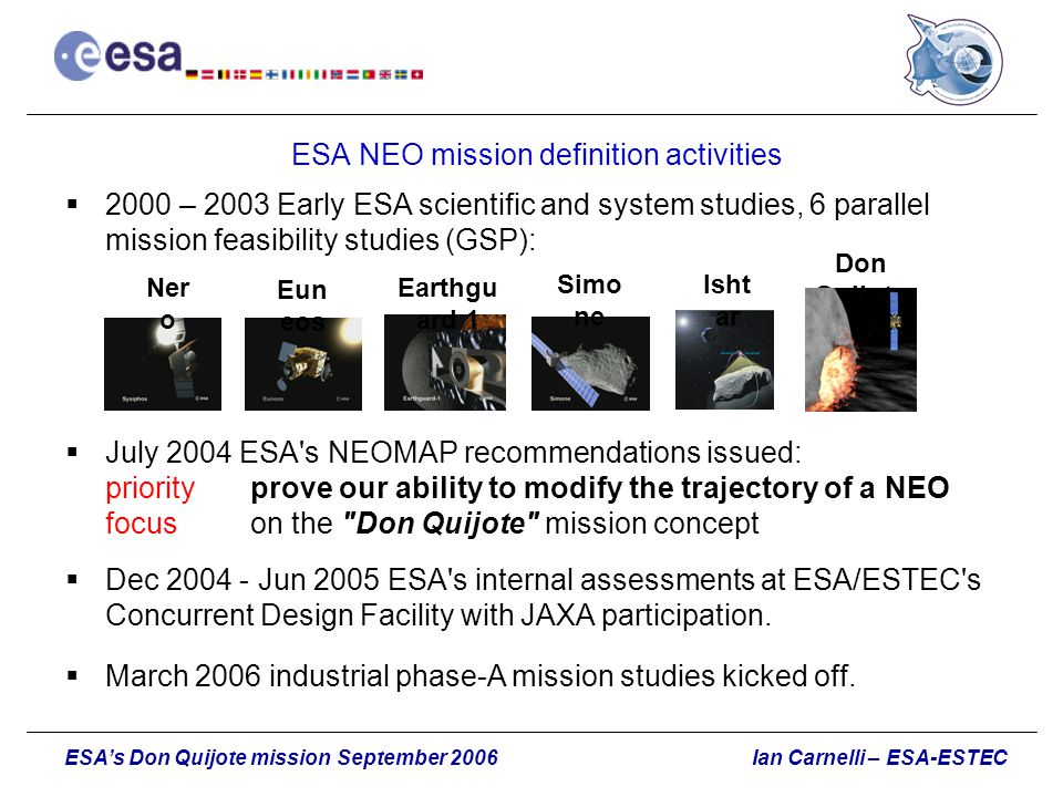 ESA NEO mission definition activities