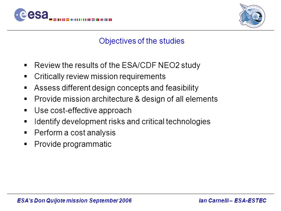 Objectives of the studies