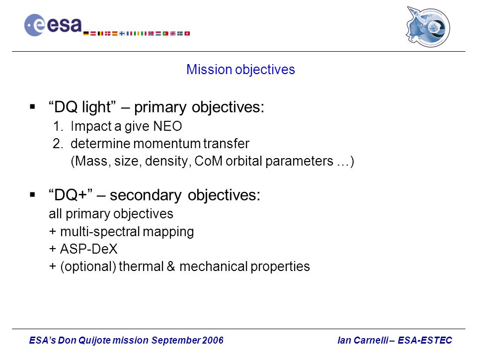 DQ light – primary objectives: