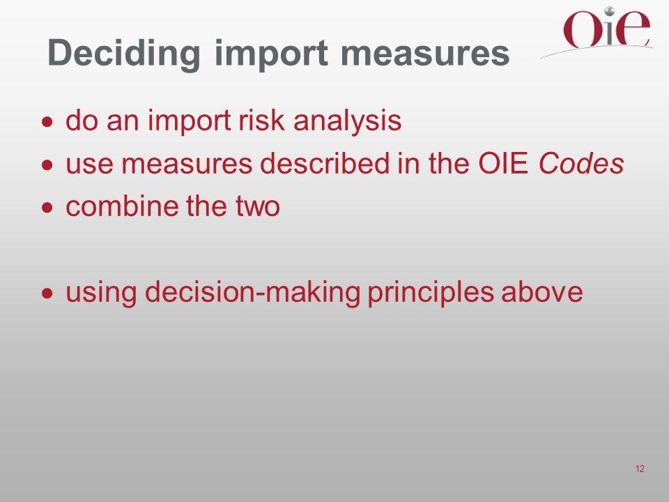 Deciding import measures