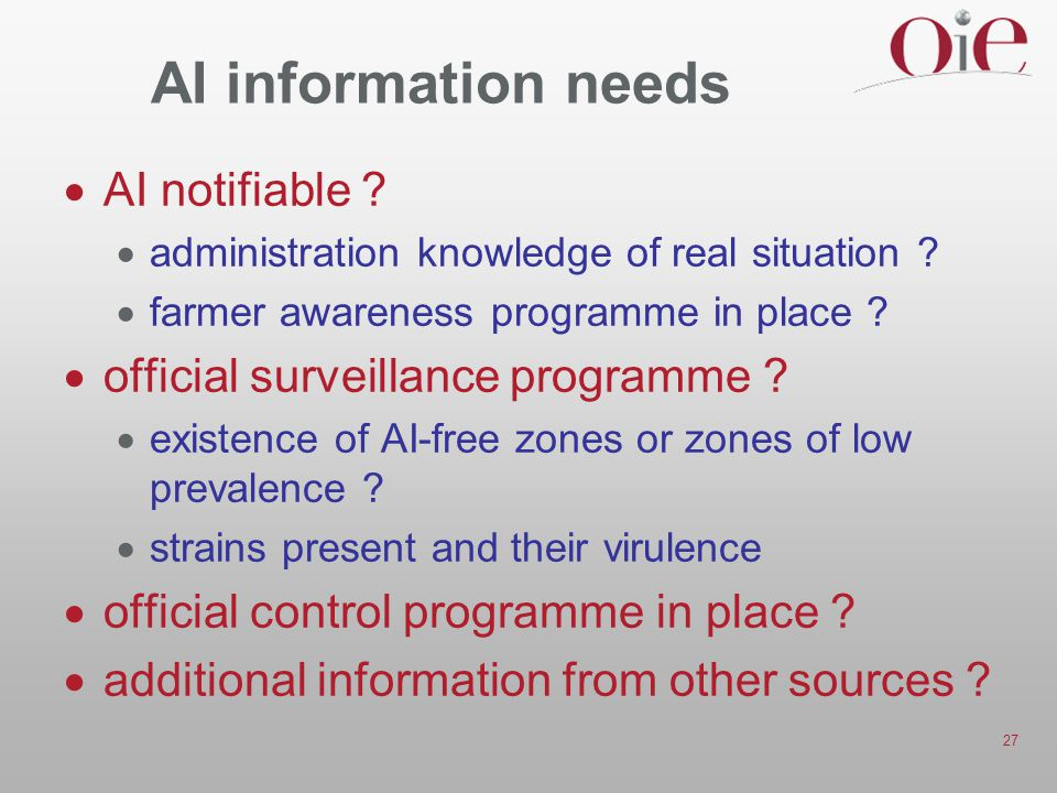 AI information needs AI notifiable official surveillance programme