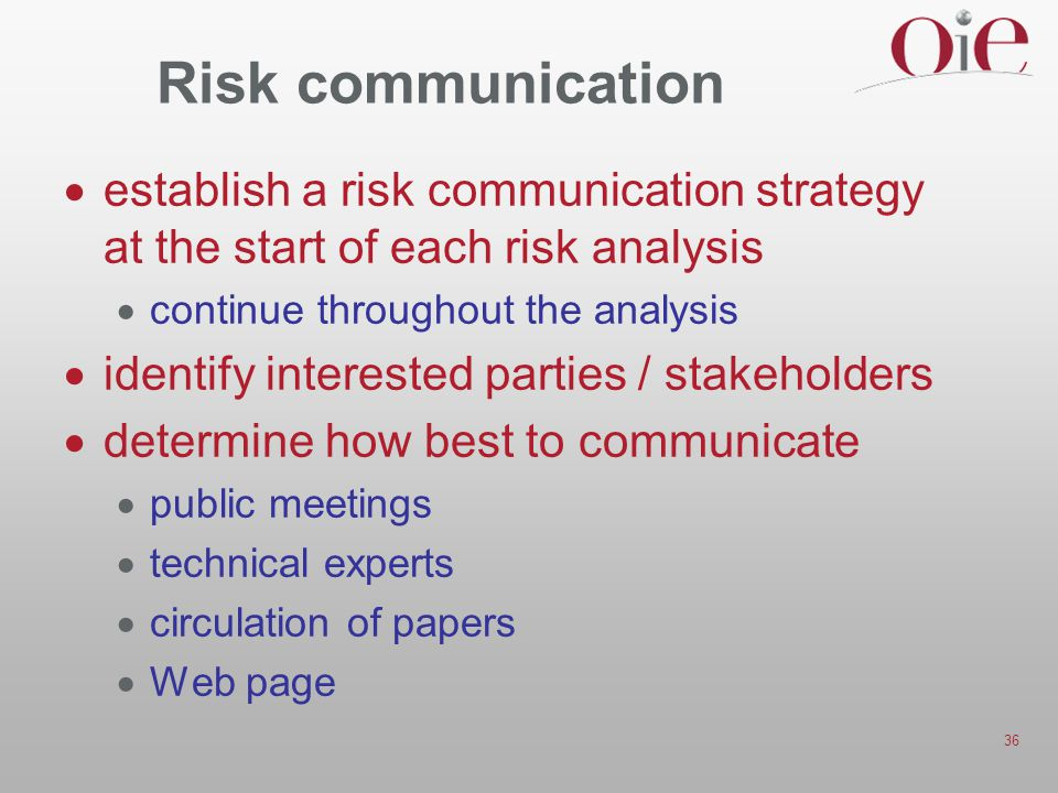 Risk communication establish a risk communication strategy at the start of each risk analysis. continue throughout the analysis.
