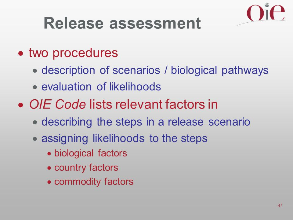 Release assessment two procedures OIE Code lists relevant factors in