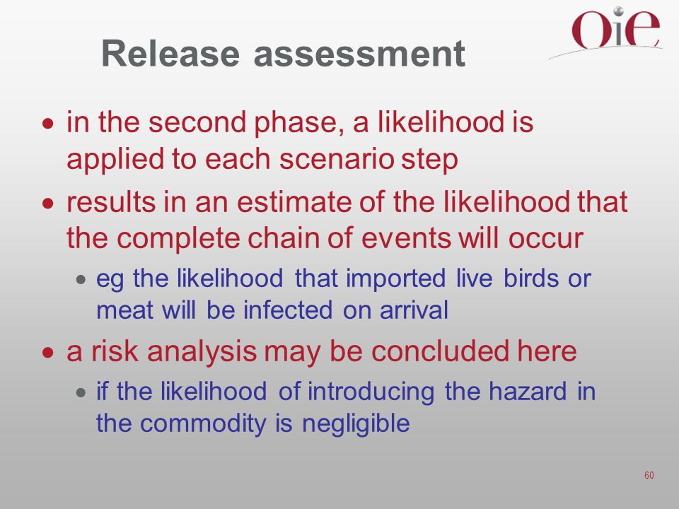 Release assessment in the second phase, a likelihood is applied to each scenario step.
