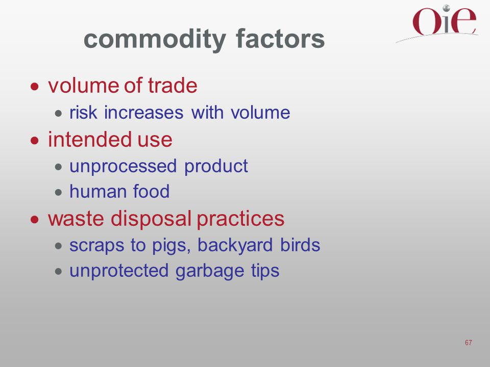 commodity factors volume of trade intended use
