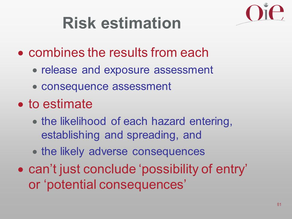 Risk estimation combines the results from each to estimate