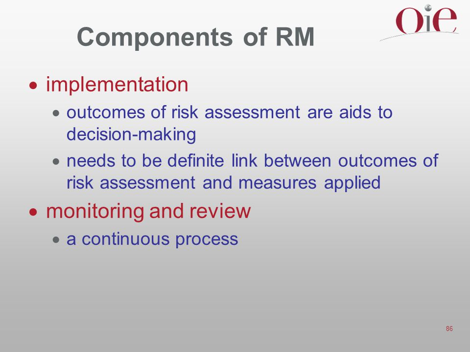 Components of RM implementation monitoring and review