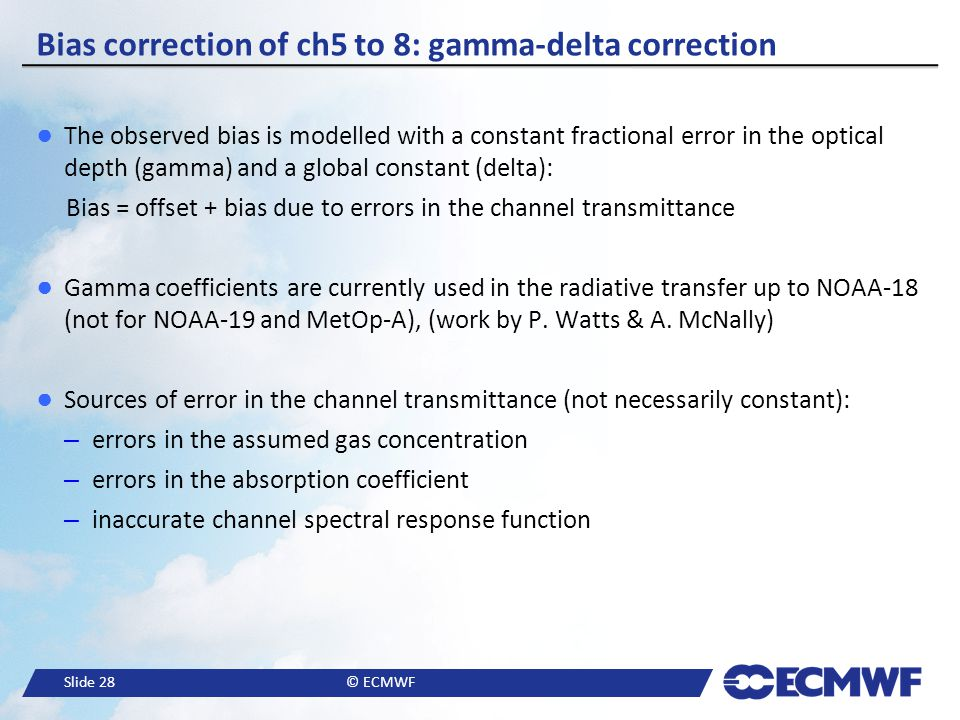 Bias correction of ch5 to 8: gamma-delta correction