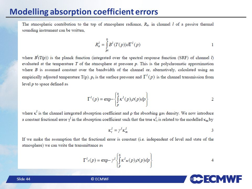 Modelling absorption coefficient errors