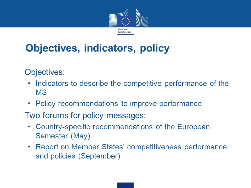 Objectives, indicators, policy