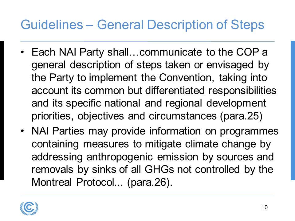Guidelines – General Description of Steps