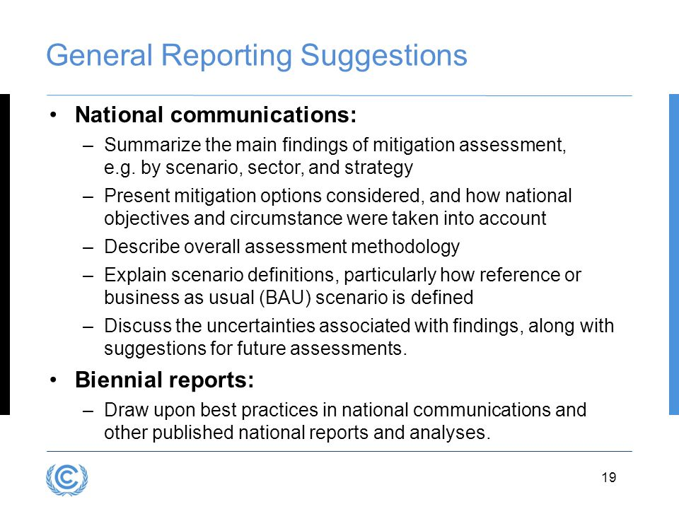 General Reporting Suggestions
