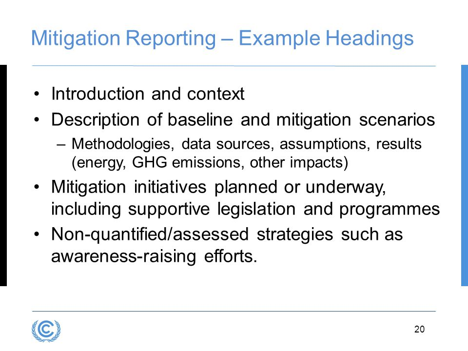 Mitigation Reporting – Example Headings
