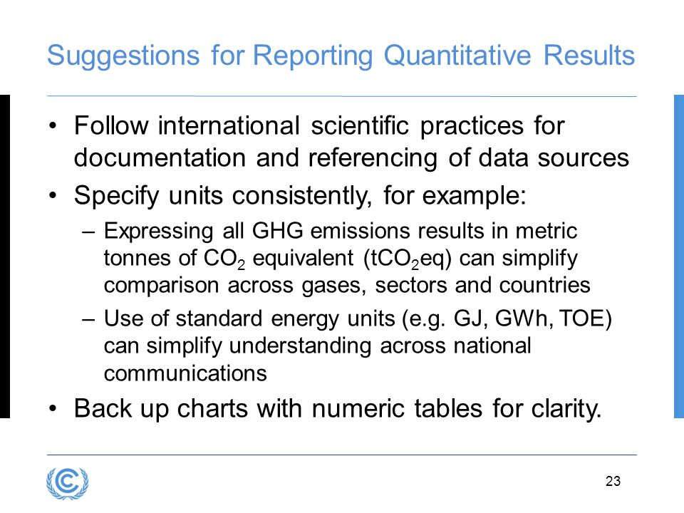 Suggestions for Reporting Quantitative Results