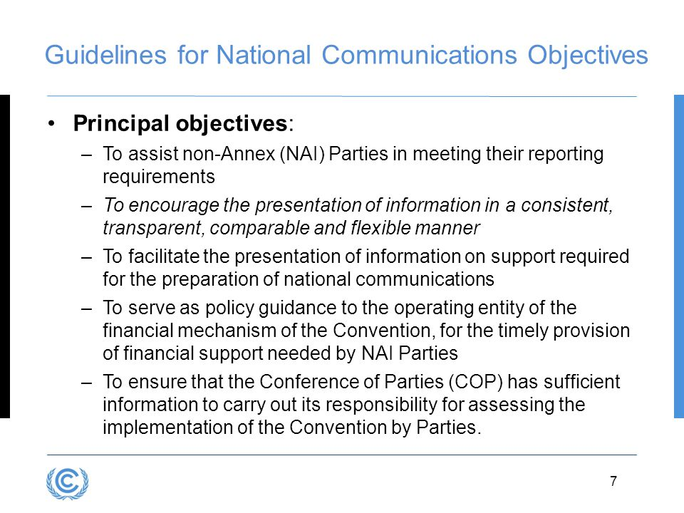 Guidelines for National Communications Objectives