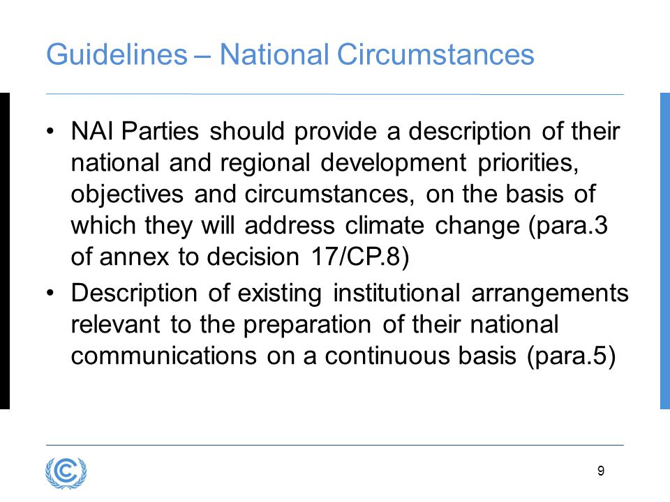 Guidelines – National Circumstances