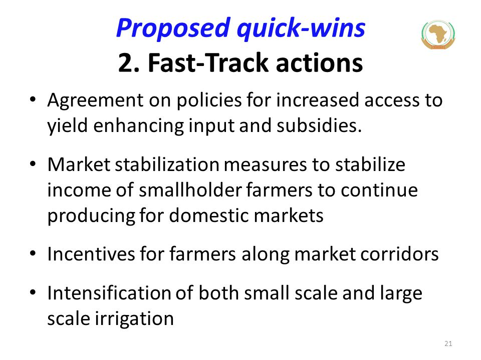 Proposed quick-wins 2. Fast-Track actions